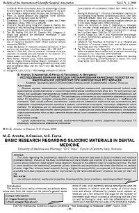 Basic research regarding siliconic materials in dental medicine