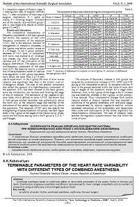 Terminable parameters of the heart rate variability with different types of combined anesthesia